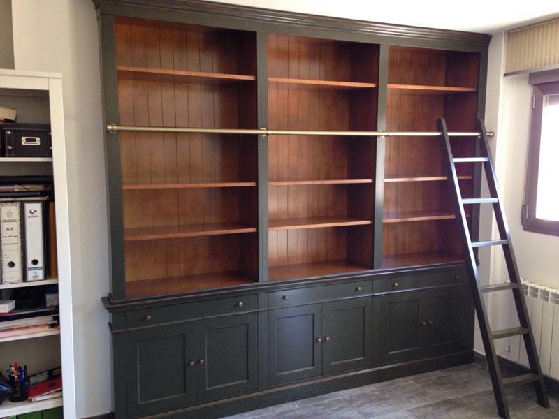 Librerias con escalera librera de madera con escalera for Escalera libreria
